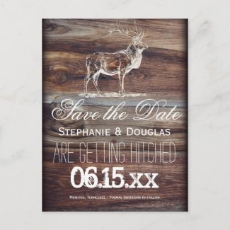 Rustic Elk Wildlife Save the Date Postcards