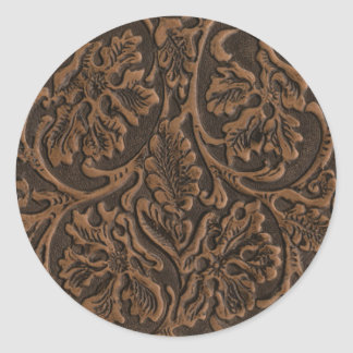 Rustic Embossed Leather Classic Round Sticker