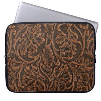 Rustic Embossed Leather Laptop Sleeve