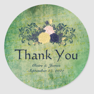 Rustic Emerald Floral Thank You Stickers