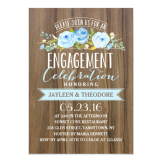 "Rustic Engagement | Engagement Party 5"" X 7"" Invitation Card"