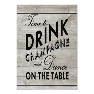 Rustic Engagement Party Time to Drink Champagne Card