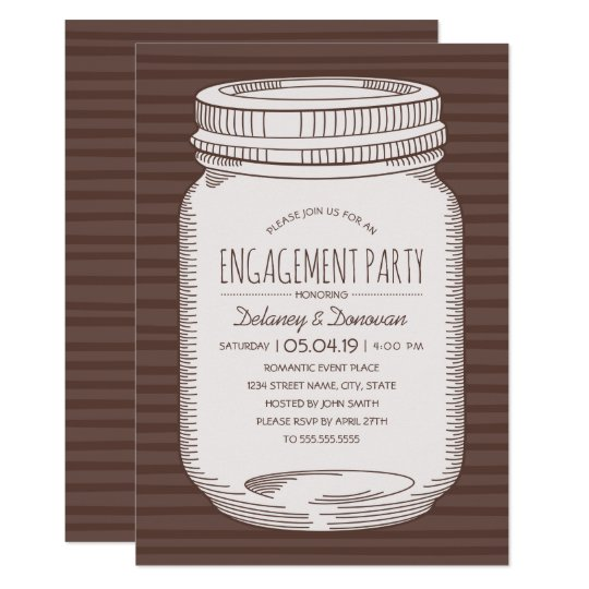 Rustic Engagement Party Vintage Country Mason Jar Card