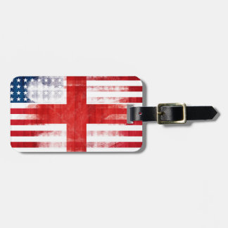 Rustic English American Flag Luggage Tag
