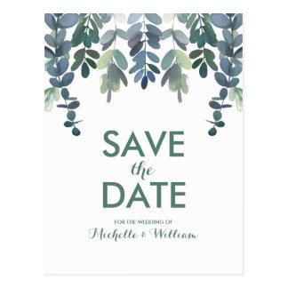Rustic Eucalyptus Greenery Gum Tree Save the Date Postcard