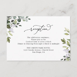 Rustic Eucalyptus Greenery Wedding Reception Enclosure Card
