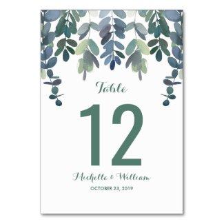 Rustic Eucalyptus Greenery Wedding Table Numbers