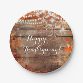 Rustic Fall Autumn Leaves Thanksgiving Plates