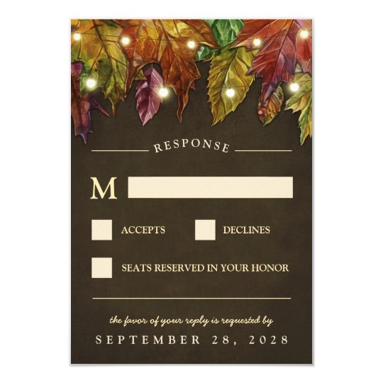 Rustic Fall Autumn Leaves Wedding RSVP Cards