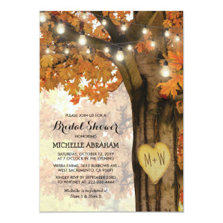 Rustic Fall Autumn Tree Lights Bridal Shower Card
