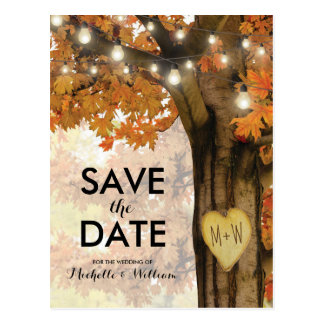 Rustic Fall Autumn Tree Lights Save the Date Postcard