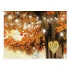 Rustic Fall Autumn Tree Twinkle Light Wedding RSVP Postcard