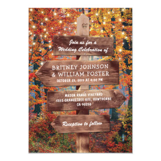 Rustic Fall Autumn Woodland String Lights Wedding Card