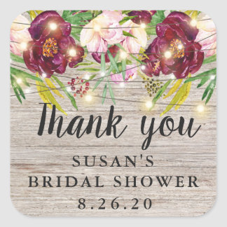 Rustic Fall Bridal Shower, Burgundy Flowers Favor Square Sticker
