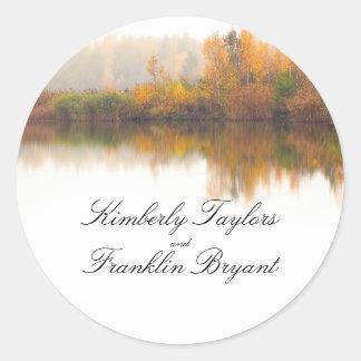 Rustic Fall Elegant Colorful Trees Wedding Classic Round Sticker