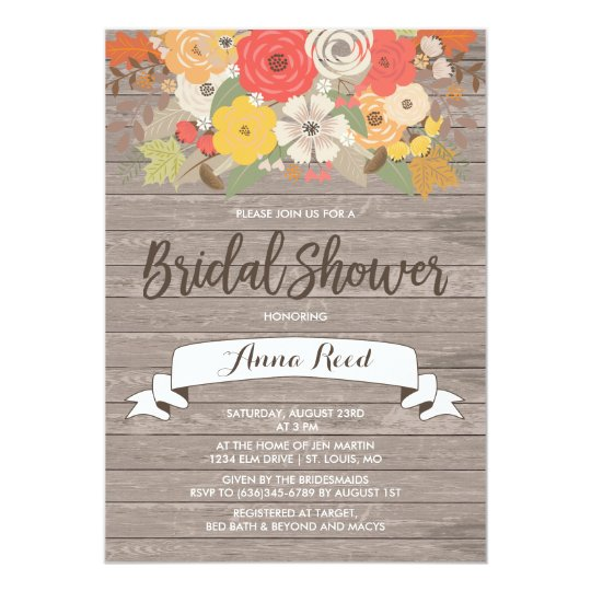 Rustic Fall Flowers Bridal Shower Card