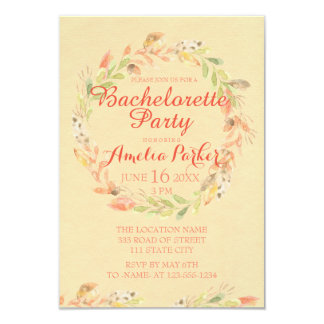 Rustic Fall Flowers Watercolor Bachelorette Party Card