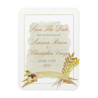 Rustic Fall Gold Autumn Wedding Save The Date Magnet
