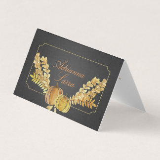 Rustic Fall Gold Chalkboard Watercolor Wedding Place Card