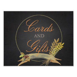 Rustic Fall Gold Chalkboard Wedding Cards & Gifts Poster
