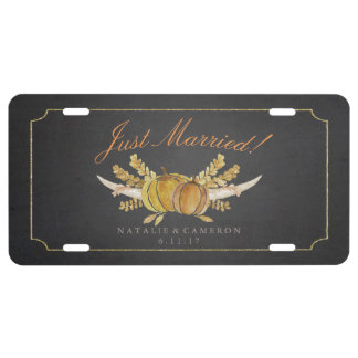 Rustic Fall Gold Chalkboard Wedding Just Married License Plate