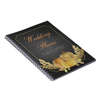 Rustic Fall Gold Chalkboard Wedding Planner Notebooks