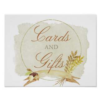 Rustic Fall Gold Watercolor Wedding Cards & Gifts Poster