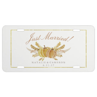 Rustic Fall Gold Watercolor Wedding Just Married License Plate