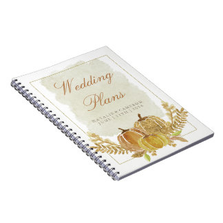 Rustic Fall Gold Watercolor Wedding Planner Spiral Notebook