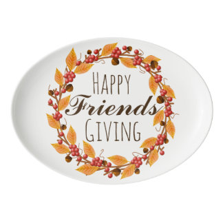 Rustic Fall Harvest Wreath Happy Friends Giving Porcelain Serving Platter
