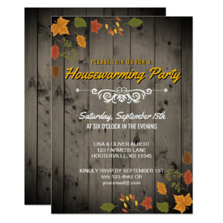Rustic Fall Housewarming Party Autumn Leaves Wood Card