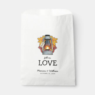 Rustic Fall in Love Autumn Leaves Wedding Favour Bag