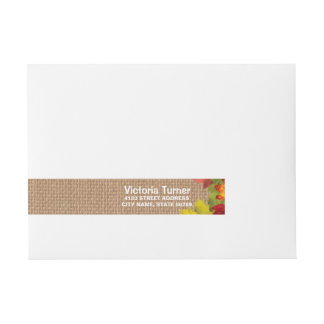 Rustic Fall Leaves Burlap Wedding Custom Wraparound Address Label