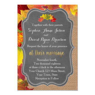 Rustic Fall Leaves Burlap Wedding Invitation
