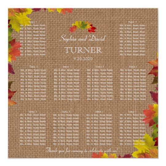 Rustic Fall Leaves Burlap Wedding Seating Chart