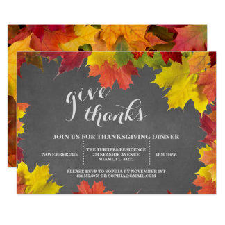 Rustic Fall Leaves Chalkboard Thanksgiving Dinner Card
