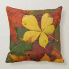 Rustic Fall Leaves Covering Ground Throw Pillow
