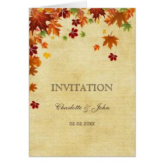 Rustic,fall leaves, fall wedding  invitations greeting card