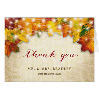Rustic Fall Leaves String Lights Burlap Thank You Card