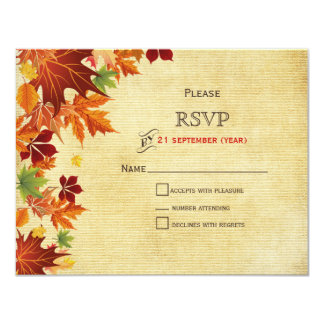 "Rustic ,fall leaves wedding RSVP cards 4.25"" X 5.5"" Invitation Card"