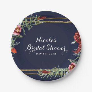 Rustic Fall Marsala Floral Navy Blue Gold Wedding Paper Plate