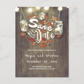 Rustic Fall Save the Date Announcement Postcard