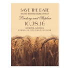 Rustic fall save the date postcards with wheat