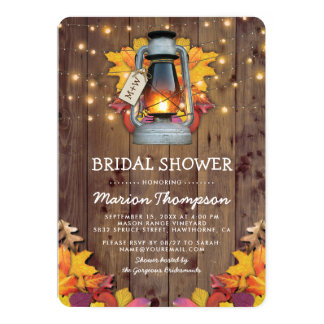 Rustic Fall String Lights Autumn Bridal Shower Card