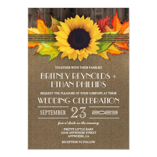 Rustic Fall Sunflower + Burlap Wedding Invitations