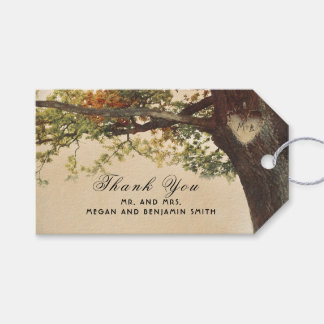 Rustic Fall Tree Carved Heart Wedding Pack Of Gift Tags