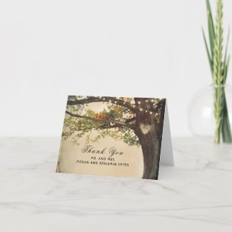 Rustic Fall Tree Lights Wedding Thank You