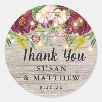 Rustic Fall Wedding, Burgundy Flowers Favor Classic Round Sticker