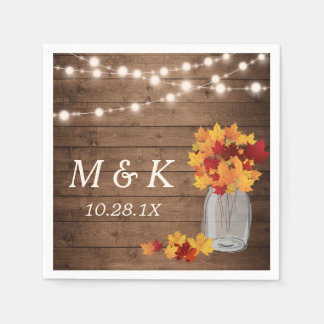 Rustic Fall Wedding Monogram String Lights Wood Disposable Napkin