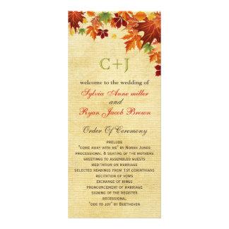Rustic fall wedding programs tea length rack card template
